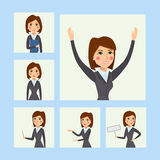 Vector business woman character silhouette standing adult office career posing young girl. Royalty Free Stock Photo