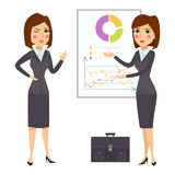 Vector business woman character silhouette standing adult office career posing young girl. Royalty Free Stock Images