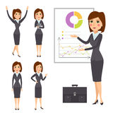 Vector business woman character silhouette standing adult office career posing young girl. Stock Images