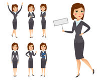 Vector business woman character silhouette standing adult office career posing young girl. Royalty Free Stock Image