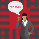 Vector- Business woman thinking about approved Stock Photography