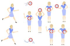 Vector business woman time, clock deadline concept. Businesswoman and time management, deadline concept set. Female characters, manager office worker hurry Royalty Free Stock Photo