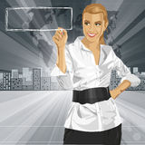 Vector Business Woman Writing Something Royalty Free Stock Photography