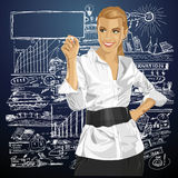 Vector Business Woman Writing Something Royalty Free Stock Photo