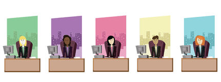 Vector Business Women. Female workers of various ethnicities sitting in front of windows Royalty Free Illustration
