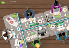 Vector Business Work place top corner brainstorming. Royalty Free Stock Photos