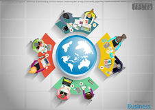 Vector business work places , teamwork, brainstorming, business analysis, marketing plan, a map of the world, paper files, mobile. Business work places vector illustration