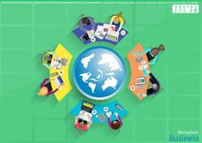 Vector business work places , teamwork, brainstorming, business analysis, marketing plan, a map of the world, paper files, mobile. Business work places Stock Image