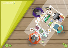 Vector business work places , teamwork, brainstorming, business analysis, marketing plan, a map of the world, paper files, mobile Royalty Free Stock Photography