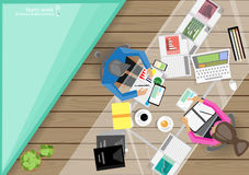 Vector business work places , teamwork, brainstorming, business analysis, marketing plan, a map of the world, paper files, mobile Stock Images