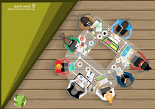 Vector business work places , teamwork, brainstorming, business analysis, marketing plan, a map of the world, paper files, mobile Stock Photos
