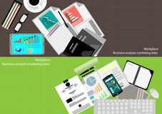 Vector business workplace statistical analysis and marketing and mobile technology. In Communication Design flat Stock Images