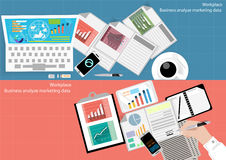 Vector business workplace statistical analysis and marketing and mobile technology. In Communication Design flat. Vector business workplace statistical analysis Stock Photos