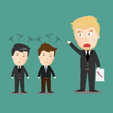 Vector of businessman with angry boss Stock Photos