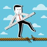 Vector of  Businessman is balancing on a rope. Stock Photography