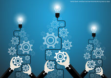 Vector businessman brainstorming creative ideas with bulb brain cogs flat design Royalty Free Stock Photo