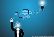 Vector businessman brainstorming creative ideas with bulb brain cogs flat design Royalty Free Stock Images