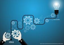 Vector businessman brainstorming creative ideas with bulb brain cogs flat design Stock Photo