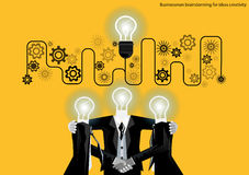 Vector businessman brainstorming for ideas creativity flat design. Vector businessman brainstorming for ideas creativity Royalty Free Stock Image
