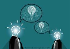 Vector businessman brainstorming for ideas creativity flat design Stock Photography