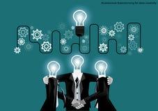 Vector businessman brainstorming for ideas creativity flat design. Vector businessman brainstorming for ideas creativity Royalty Free Stock Photo