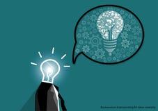 Vector businessman brainstorming for ideas creativity flat design Stock Photo