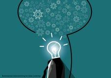 Vector businessman brainstorming for ideas creativity flat design Royalty Free Stock Image