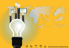 Vector Businessman brainstorming for ideas Modern communication technologies bulb mobile tablet world map and icon flat design Stock Image
