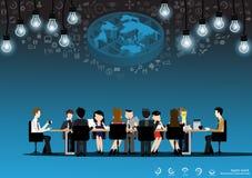 Vector businessman brainstorming ideas for a world light bulbs and icons flat design Stock Photos