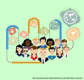 Vector businessman brainstorms for succeed world class. With people icons stock illustration