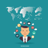 Vector businessman communications and brainstorming with communications icons and world map. flat design. Businessman communications and brainstorming with Stock Photo