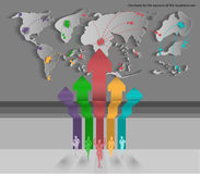 Vector businessman competition world class route for succeed. With map design stock illustration