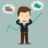 Vector of Businessman dreaming about money.concept. Stock Photography