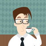 Vector of businessman drinking a coffee Royalty Free Stock Image
