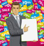 Vector Businessman With Empty Write Board Royalty Free Stock Photography