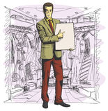Vector Businessman With Empty Write Board Stock Images