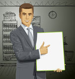 Vector Businessman With Empty Write Board Stock Image