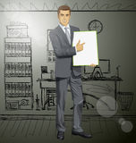 Vector Businessman With Empty Write Board Royalty Free Stock Photos