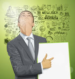 Vector Businessman With Empty Write Board Stock Photos