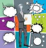 Vector Businessman With Empty Write Boardr And Bubble Speech Stock Image