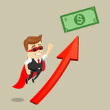Vector businessman flying to the dollar bill. Business man as a hero. Superhero. Royalty Free Stock Image