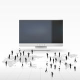 Vector businessman in front of LCD monitor. Vector illustration of businessman in front of big monitor Stock Photo