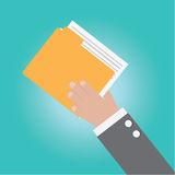 Vector of businessman hand with Document file Stock Photos