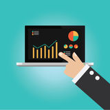 Vector of businessman hand point to technical analysis. Information Stock Image