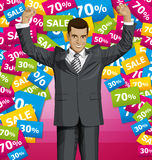 Vector Businessman With Hands Up Stock Photo