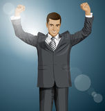 Vector Businessman With Hands Up Royalty Free Stock Photo