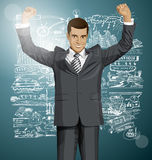 Vector Businessman With Hands Up 07 Royalty Free Stock Images