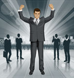 Vector Businessman With Hands Up Royalty Free Stock Image