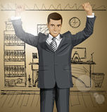 Vector Businessman With Hands Up 06 Stock Image