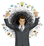 Vector Businessman With Hands Up Stock Images